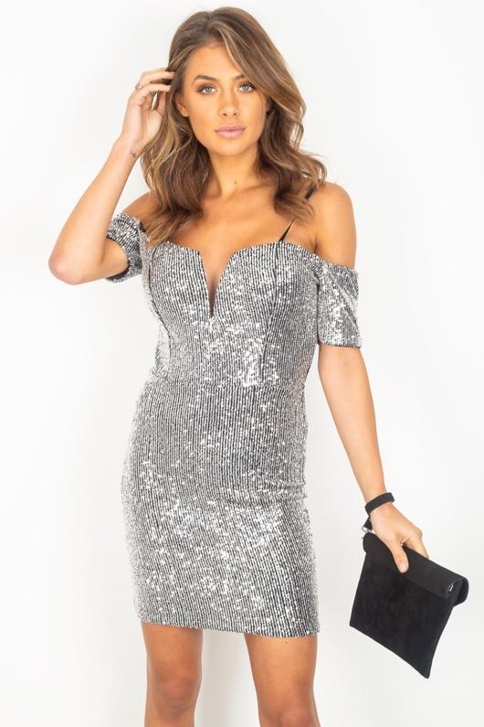 Silver Sequin Cold Shoulder Dress