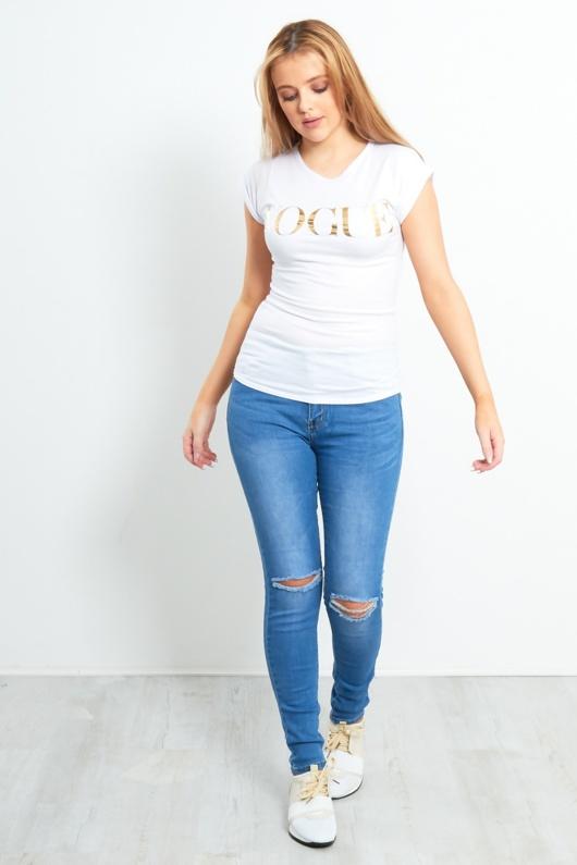 Vogue Golden Slogan Print T-Shirt