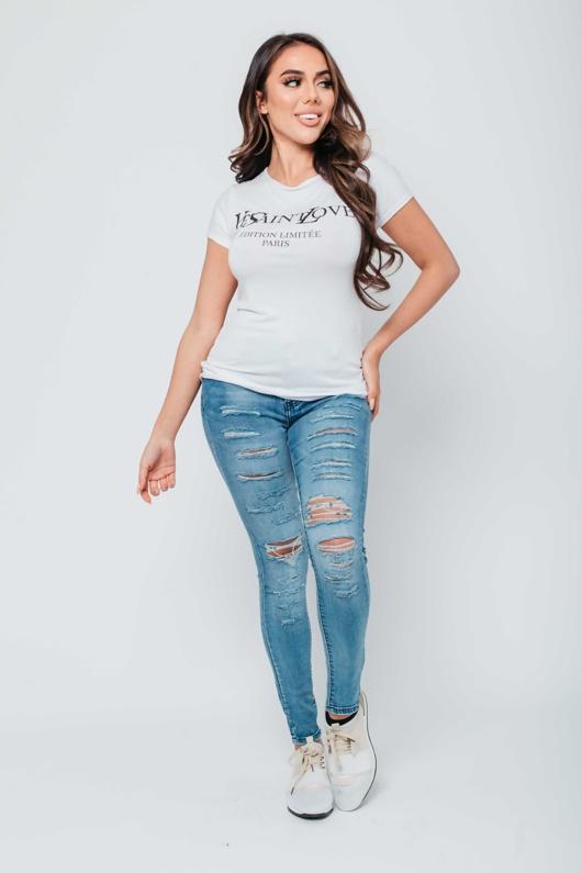 Arianna Ajtar Modelled White Slogan T-Shirt