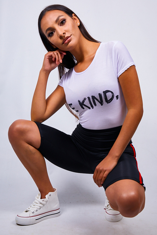 White Be Kind Slogan T-Shirt
