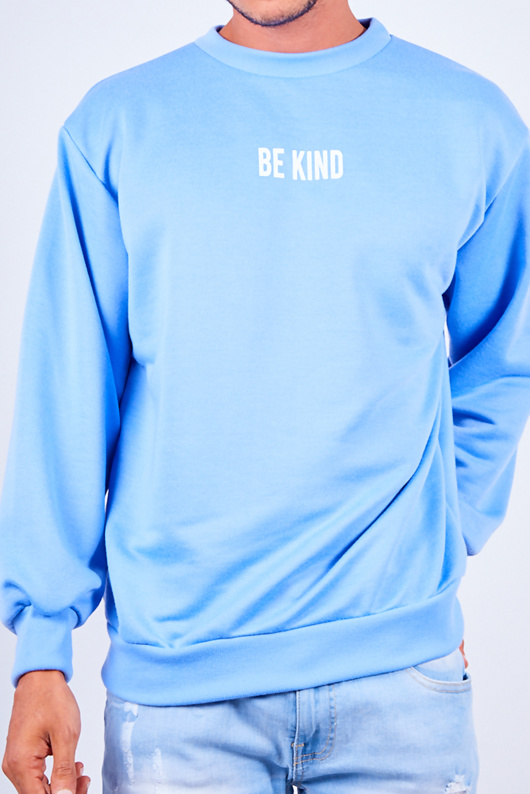 Mens Blue Be Kind Slogan Jumper