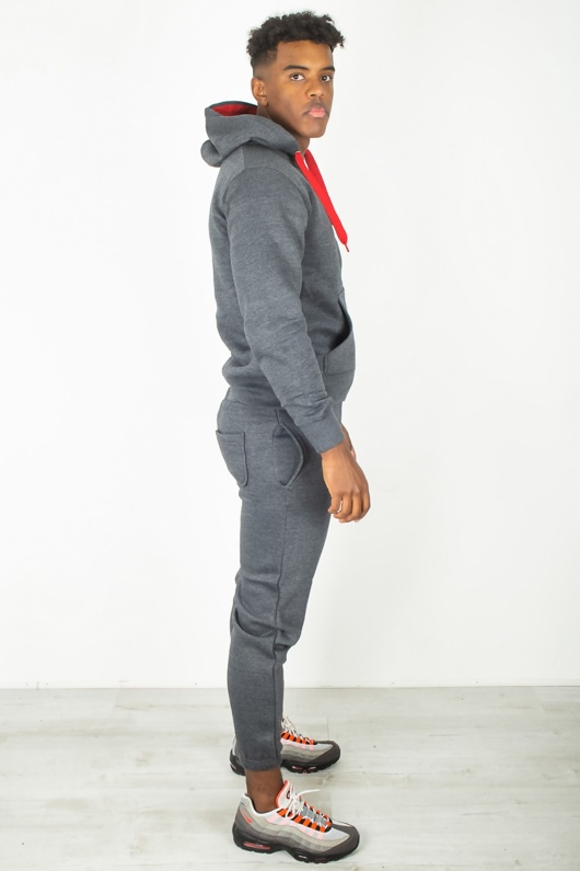 Mens Charcoal With Red Contrast Tracksuit