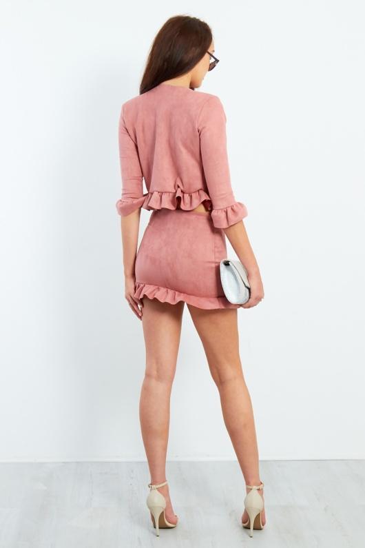 Blush Faux Suede Frill Hem Mini Skirt
