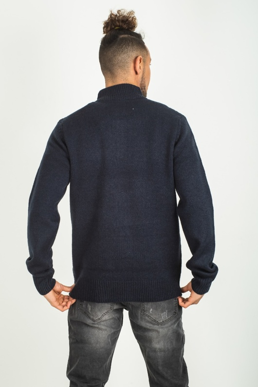 Mens Navy Cable Knit Zip Neck Jumper