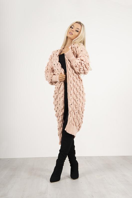 Pink Longline Bobble Knit Cardigan