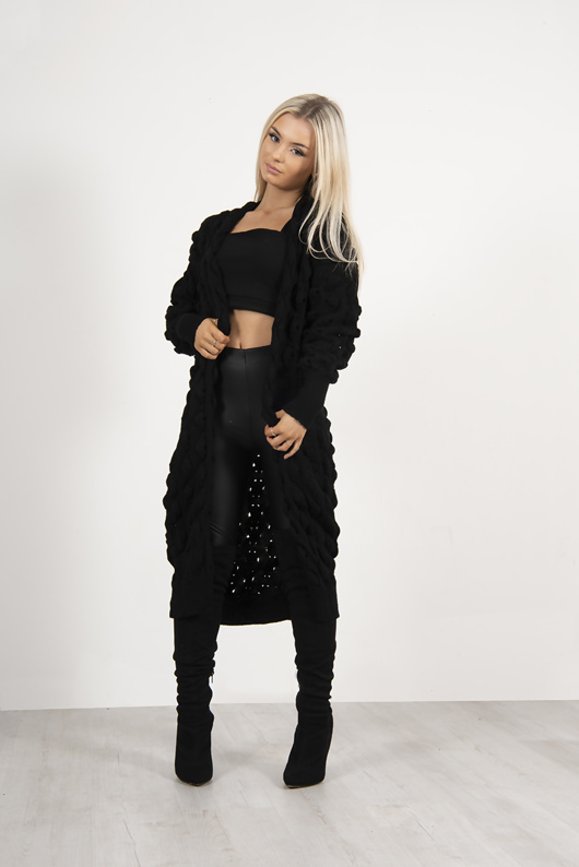 Black Longline Bobble Knit Cardigan