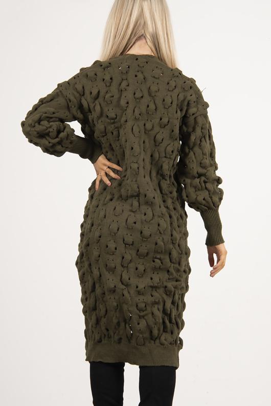 Khaki Longline Bobble Knit Cardigan
