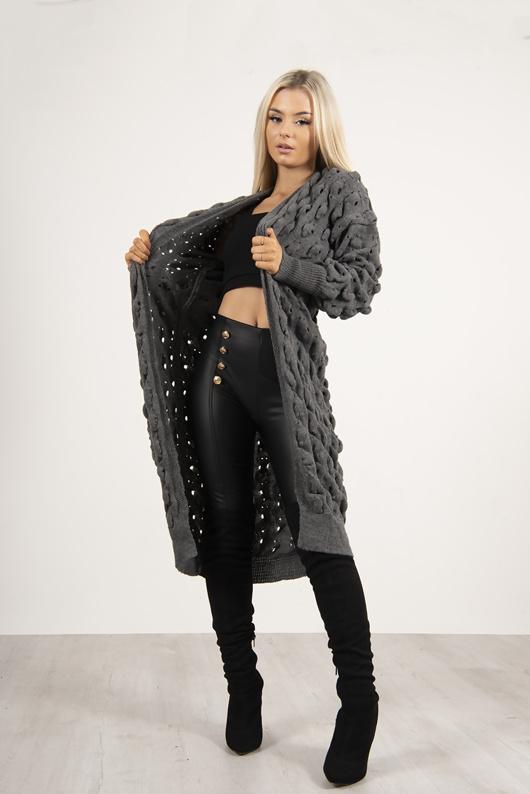 Grey Longline Bobble Knit Cardigan