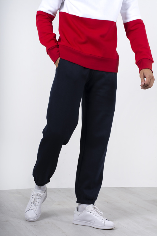 Mens Navy Basic Cuffed Joggers