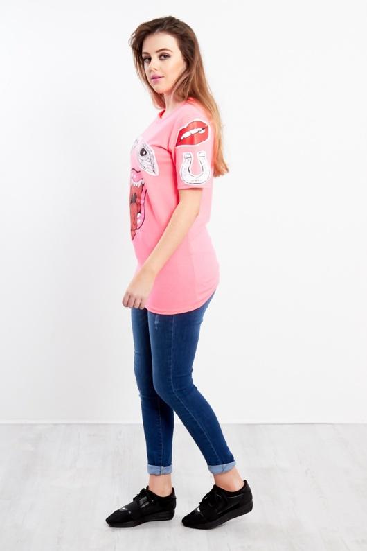 Neon Pink Monster Bite T-Shirt