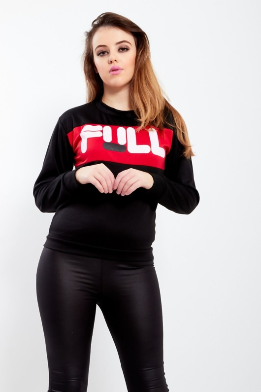 Black Full Slogan Print Sweatshirt