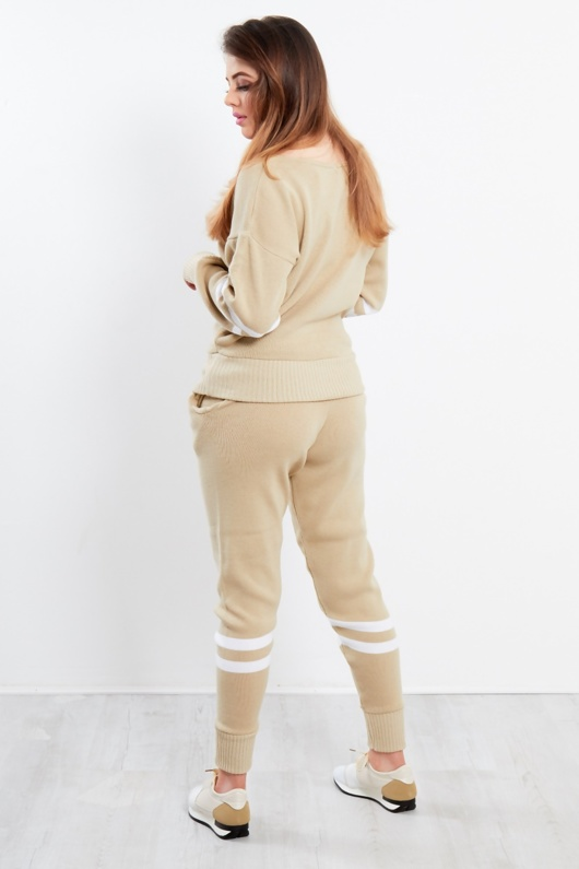 Beige Stripe Knitted Lounge Wear