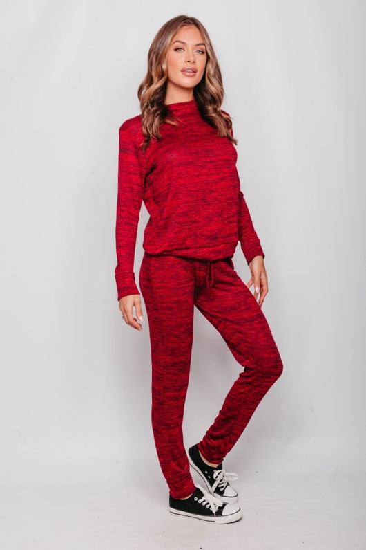 Wine Marl Long Sleeve Basic Loungewear Set