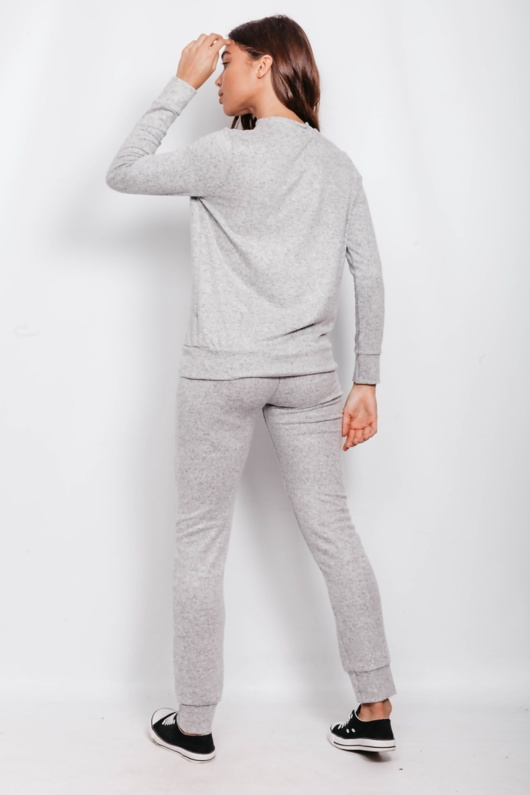 Grey Marl Vogue Slogan Loungewear Set