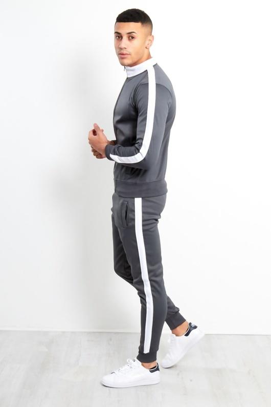 Mens Grey Zip Through Contrast Collar Tracksuit