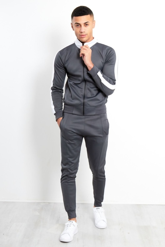 Mens Grey Zip Through Contrast Collar Tracksuit