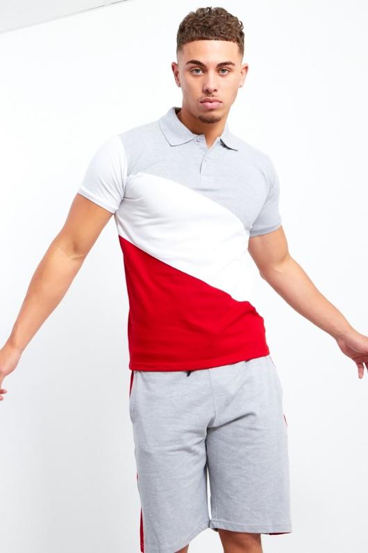 Mens Grey Polo Diagonal Colour Block Short Set