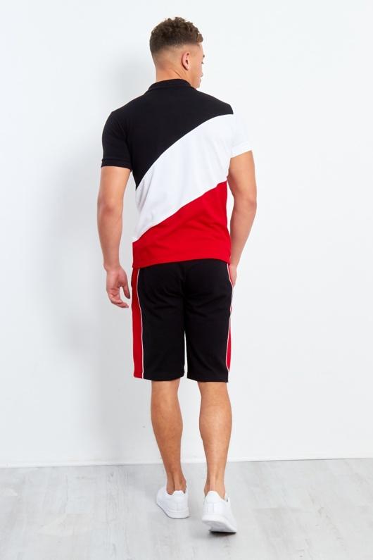 Mens Black Polo Diagonal Colour Block Short Set