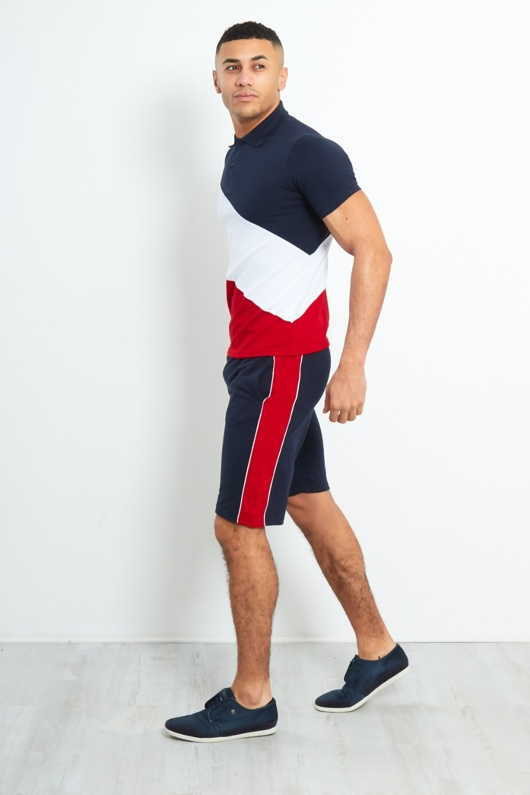 TS2351-Mens Navy Polo Diagonal Colour Block Short Set