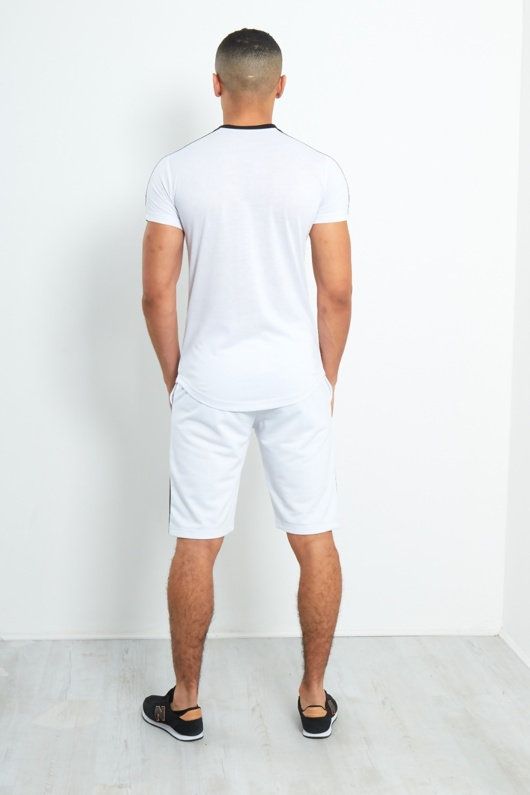 TS2354-Mens White Side Contrast Panel T-Shirt And Shorts Set