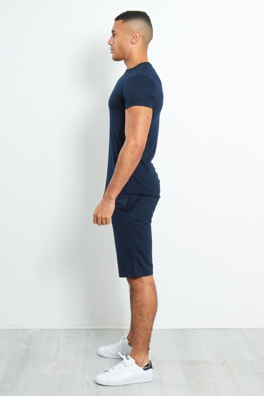 TS2355-Mens Navy Crew Neck Shorts Set With Contrast Stripe