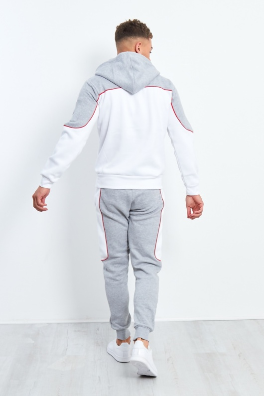 Grey And White Blocked Pull Through Tracksuit