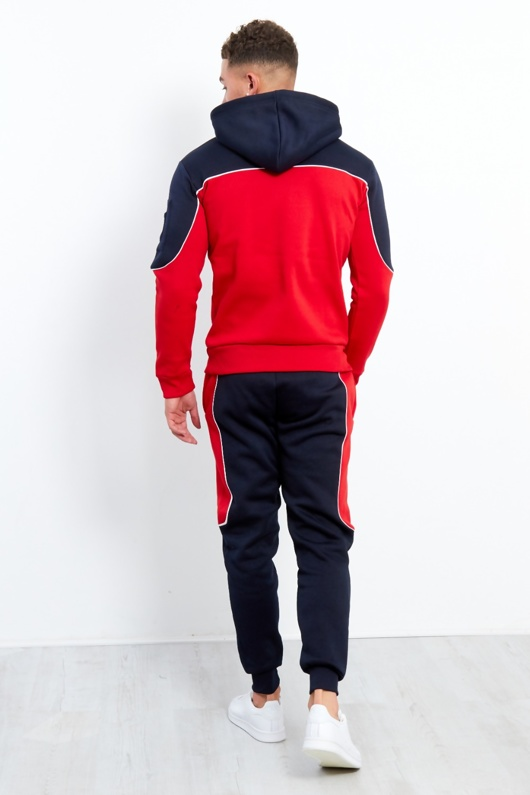 Navy And Red Blocked Pull Through Tracksuit