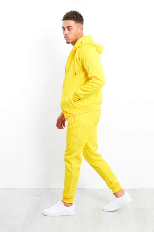 Yellow Zip Through Hooded Tracksuit