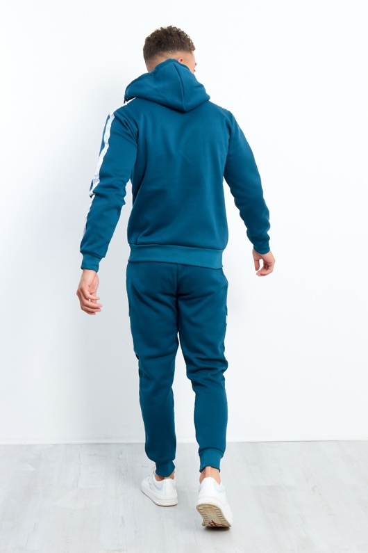 Teal White Stripe Pull Through Hooded Tracksuit