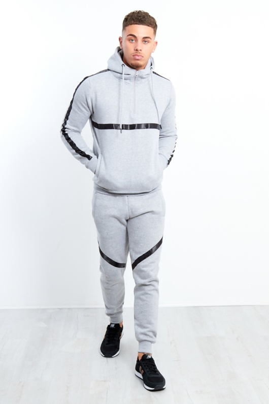 Grey Black Stripe Pull Through Hooded Tracksuit