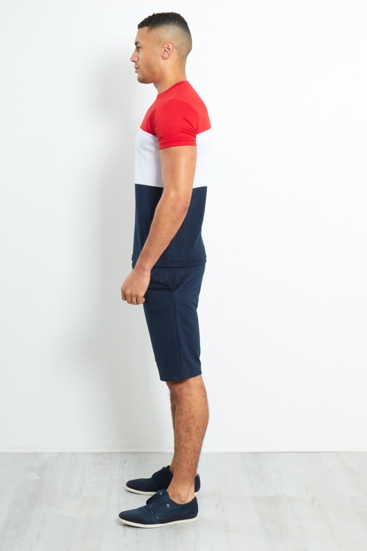 TS2359-Mens Navy Colour Block T-shirt Shorts Set