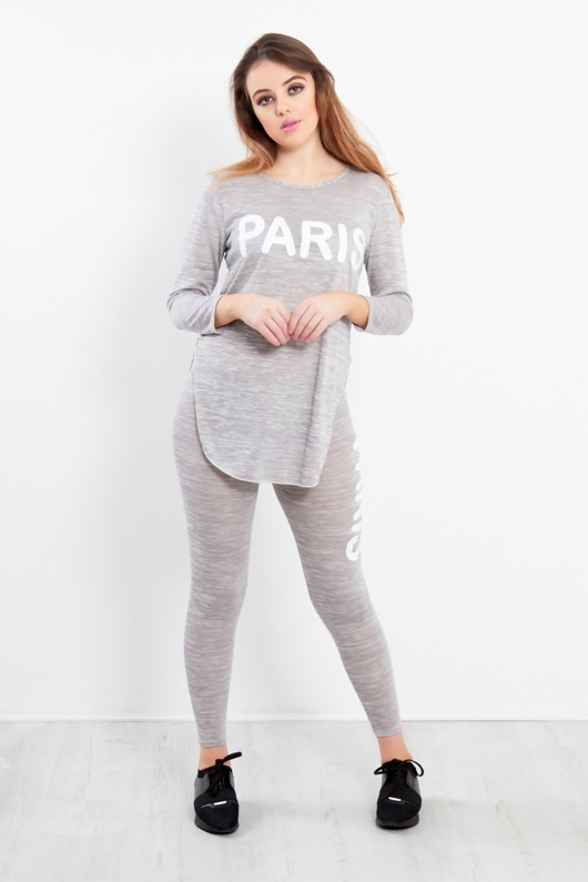 Grey Paris Slogan With Side Slit Loungewear