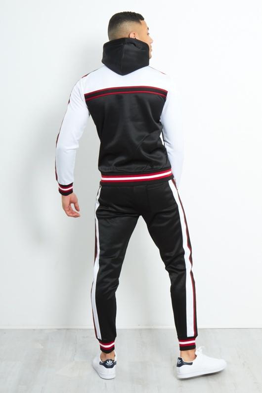 TS2363-Mens Black Colour Block Stripe Hood Skinny Tracksuit