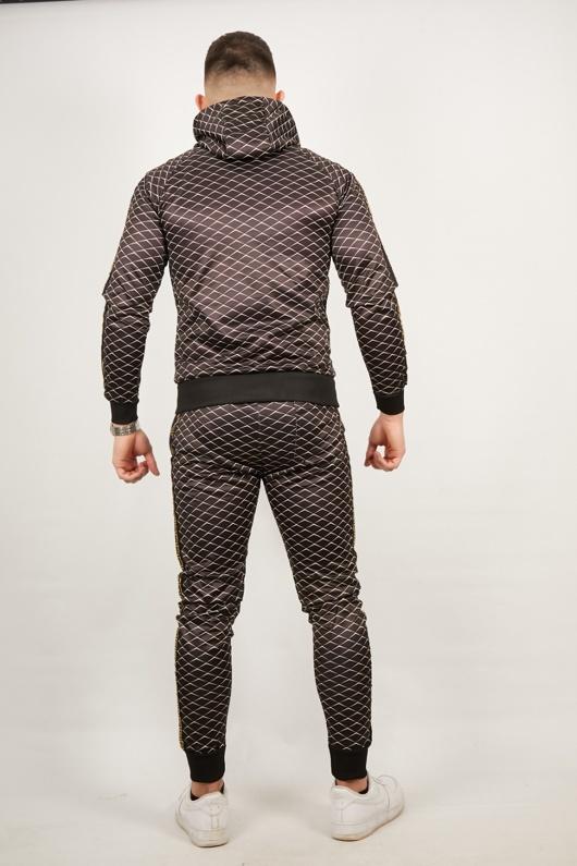 Mens Black Diamond Greek Side Stripe Tracksuit