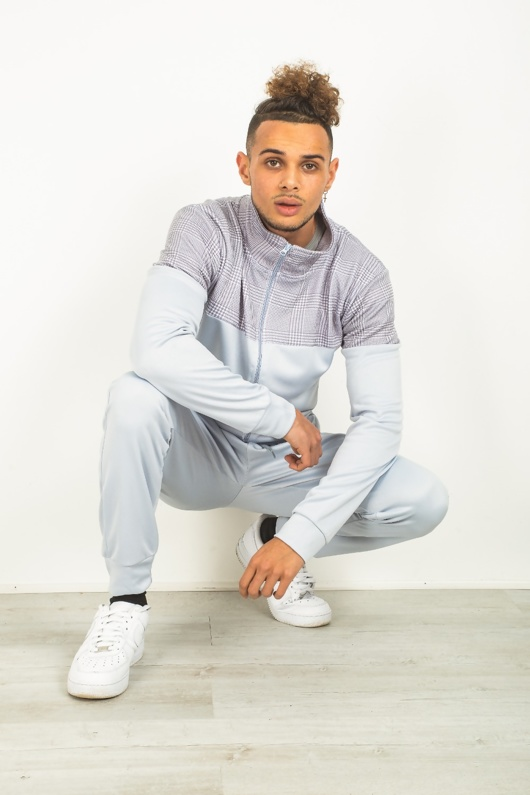 Mens Grey Checked Panel Zip Through Tracksuit