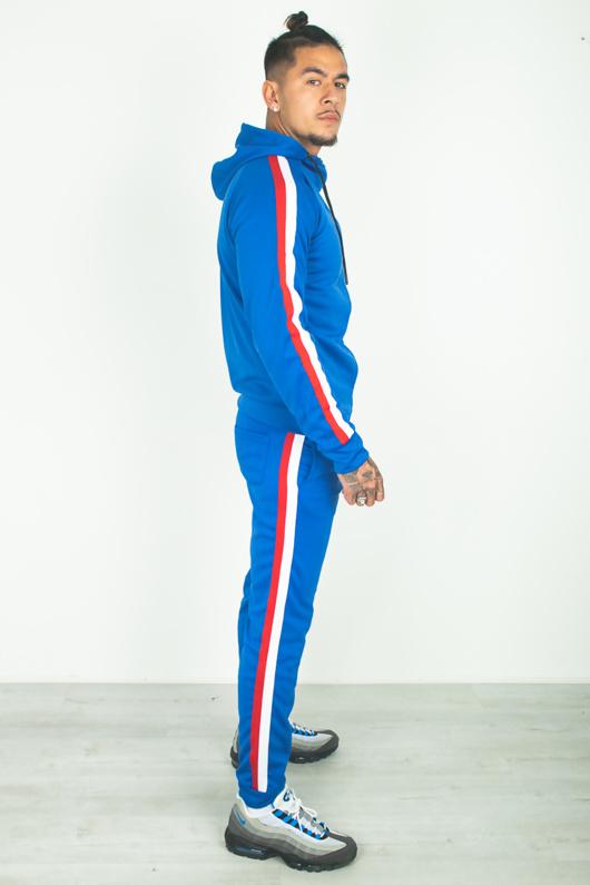 Mens Royal Side Stripe Hood Athleisure Tracksuit