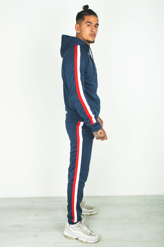 Mens Navy Side Stripe Hood Athleisure Tracksuit