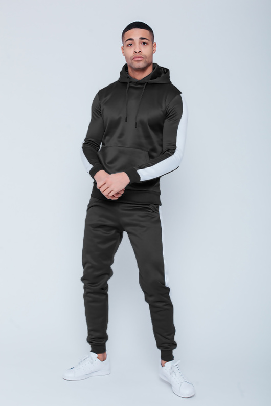 Mens Black Pull Through Contrast Tape Hooded Tracksuit
