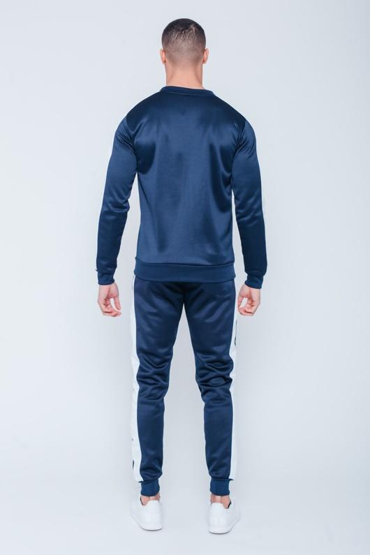 Mens Navy Pocket Detail Zip Through Skinny Tracksuit