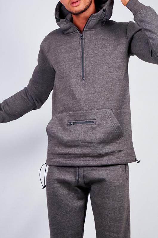Mens Charcoal Drawstring Hem Detail Half Zip Hooded Tracksuit