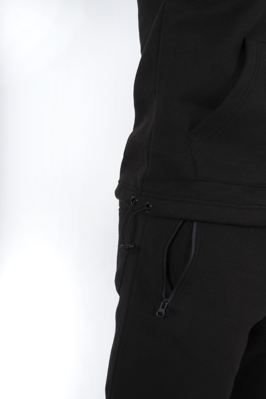 Mens Black Drawstring Hem Detail Half Zip Hooded Tracksuit