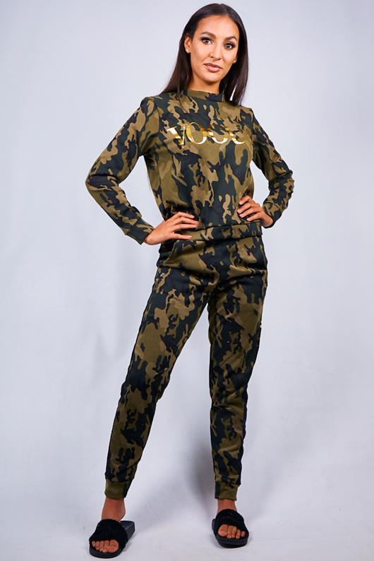 Khaki Camo Vogue Print Tracksuit Set
