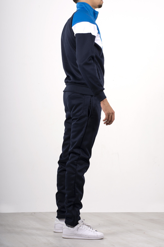 Mens Contrast navy and white stripe tracksuit