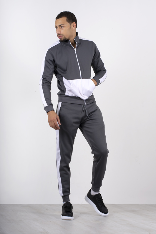 Grey Two Tone Zip Through Tracksuit