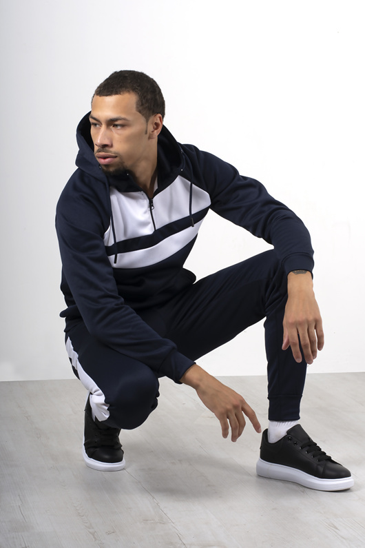 Mens Navy With White Front Panel Hooded Tracksuit
