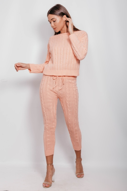 Peach Cable Knit Long Sleeve Jumper & Legging Lounge Set