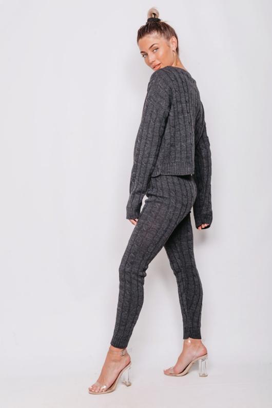 Charcoal Cable Knit Long Sleeve Jumper & Legging Lounge Set