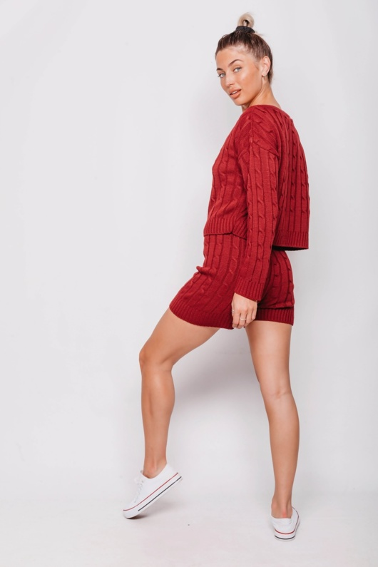 Wine Cable Knit Jumper & Shorts Lounge Set