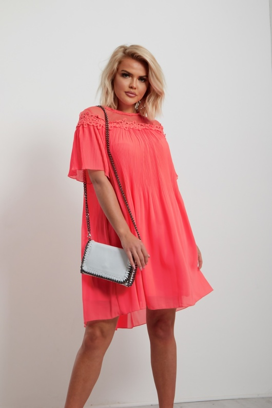 Neon Coral Pleated Dress With Lace