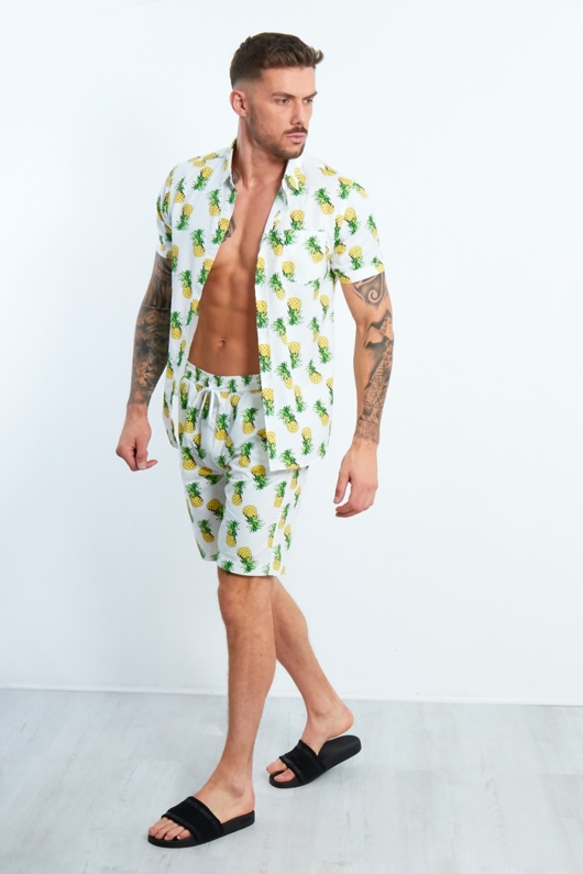 Mens White Pineapple Print T-Shirt and Short Set